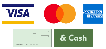 We accept Visa, Mastercard, American Express, and Cash