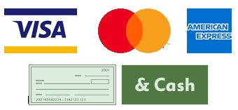 We accept Visa, Mastercard, American Express, and Cash